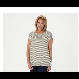 Lisa Rinna Collection olive Striped Top